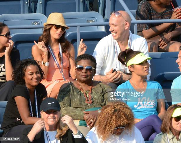 Actress Eva Longoria and stylist Robert Verdi are sighted watching the Serena Williams vs Maria Jose Martinez Sanchez match at the US Open at USTA...
