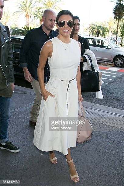 Actress Eva Longoria arrives at Nice airport during the annual 69th Cannes Film Festival at Nice Airport on May 14 2016 in Nice France