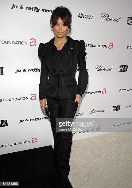 Actress Eva Longoria arrives at the 17th Annual Elton John AIDS Foundation Oscar party held at the Pacific Design Center on February 22 2009 in West...