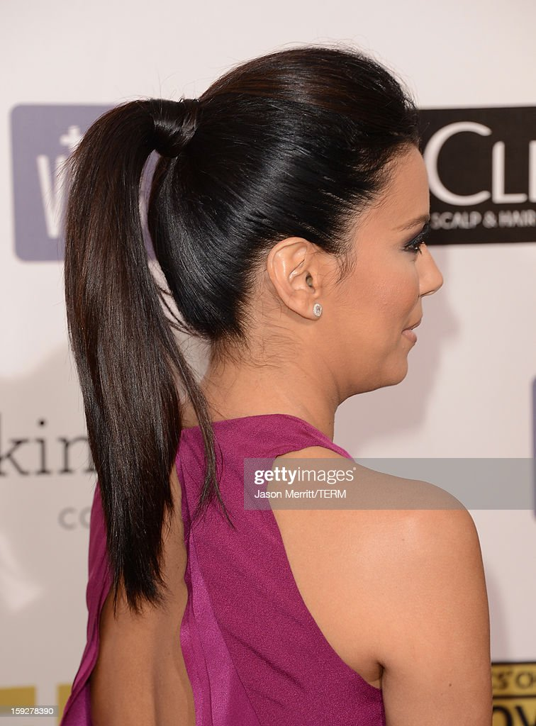Actress Eva Longoria arrives at the 18th Annual Critics' Choice Movie Awards held at Barker Hangar on January 10, 2013 in Santa Monica, California.