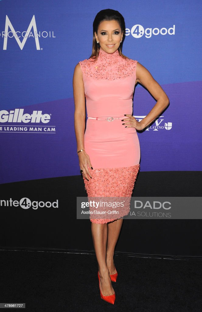 Actress Eva Longoria arrives at the 1st Annual unite4:humanity event hosted by unite4:good and Variety at Sony Studios on February 27, 2014 in Los Angeles, California.