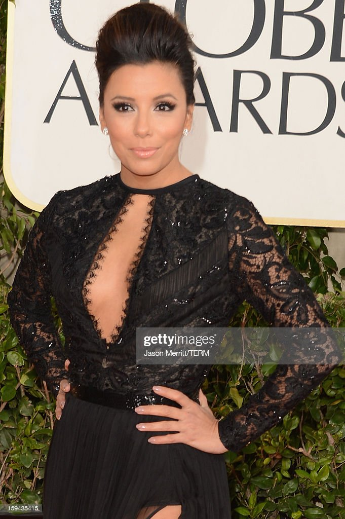 Actress Eva Longoria arrives at the 70th Annual Golden Globe Awards held at The Beverly Hilton Hotel on January 13, 2013 in Beverly Hills, California.