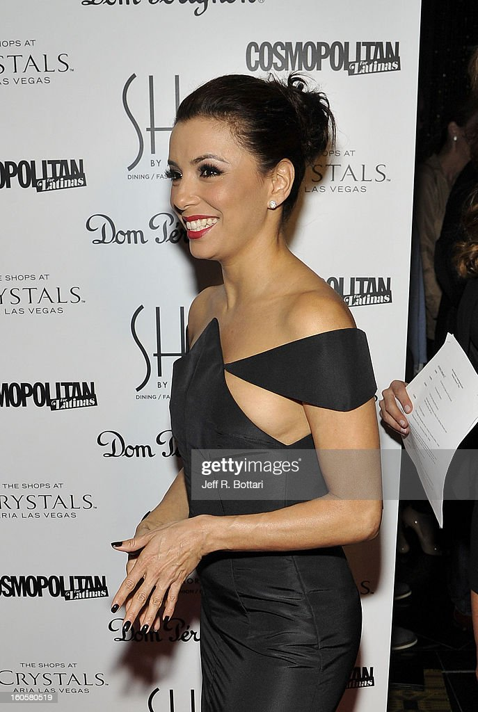 Actress <a gi-track='captionPersonalityLinkClicked' href=/galleries/search?phrase=Eva+Longoria&family=editorial&specificpeople=202082 ng-click='$event.stopPropagation()'>Eva Longoria</a> arrives at the grand opening of SHe by Morton's at Crystals at CityCenter on February 2, 2013 in Las Vegas, Nevada.