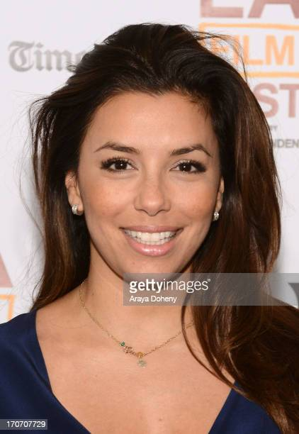 Actress Eva Longoria arrives at the 'In A World' premiere during the 2013 Los Angeles Film Festival at Regal Cinemas LA Live on June 16 2013 in Los...