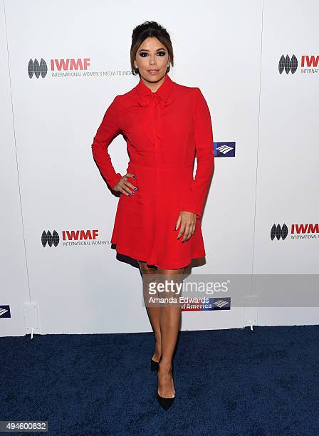 Actress Eva Longoria arrives at the International Women's Media Foundation Courage Awards at the Beverly Wilshire Four Seasons Hotel on October 27...