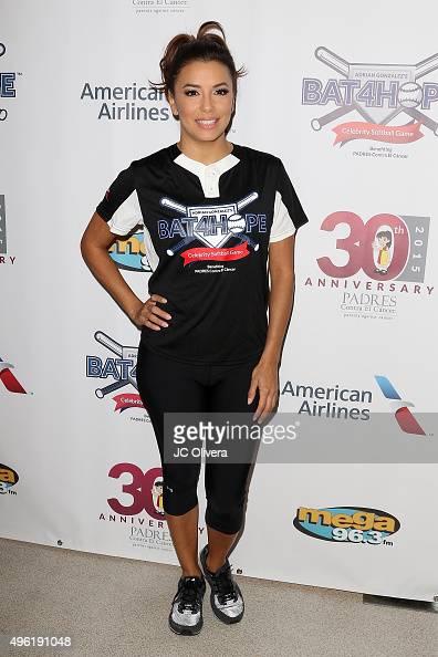 Actress Eva Longoria attends Adrian Gonzalez's Bat 4 Hope Celebrity Softball Game PADRES Contra El Cancer at Dodger Stadium on November 7 2015 in Los...