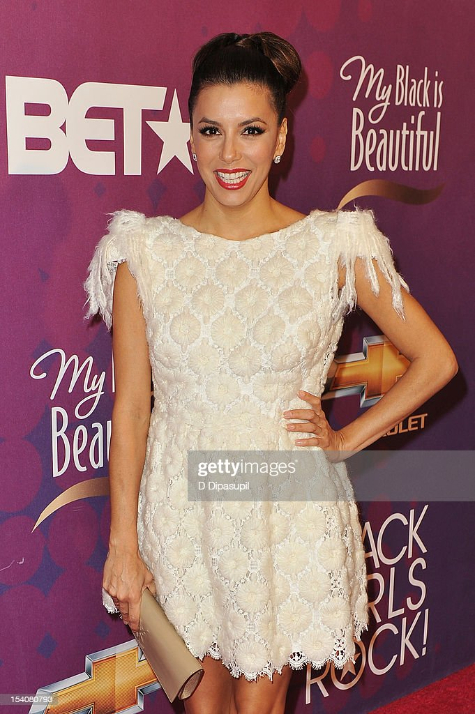 Actress <a gi-track='captionPersonalityLinkClicked' href=/galleries/search?phrase=Eva+Longoria&family=editorial&specificpeople=202082 ng-click='$event.stopPropagation()'>Eva Longoria</a> attends BET's Black Girls Rock 2012 CHEVY Red Carpet at Paradise Theater on October 13, 2012 in New York City.