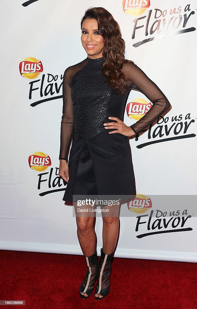 Actress <a gi-track='captionPersonalityLinkClicked' href=/galleries/search?phrase=Eva+Longoria&family=editorial&specificpeople=202082 ng-click='$event.stopPropagation()'>Eva Longoria</a> attends Lay's 'Do Us a Flavor' contest hosted by <a gi-track='captionPersonalityLinkClicked' href=/galleries/search?phrase=Eva+Longoria&family=editorial&specificpeople=202082 ng-click='$event.stopPropagation()'>Eva Longoria</a> at Beso on May 6, 2013 in Hollywood, California.