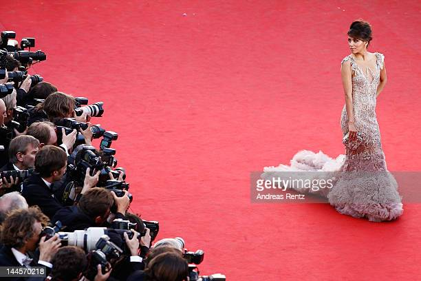 Actress Eva Longoria attends opening ceremony and 'Moonrise Kingdom' premiere during the 65th Annual Cannes Film Festival at Palais des Festivals on...