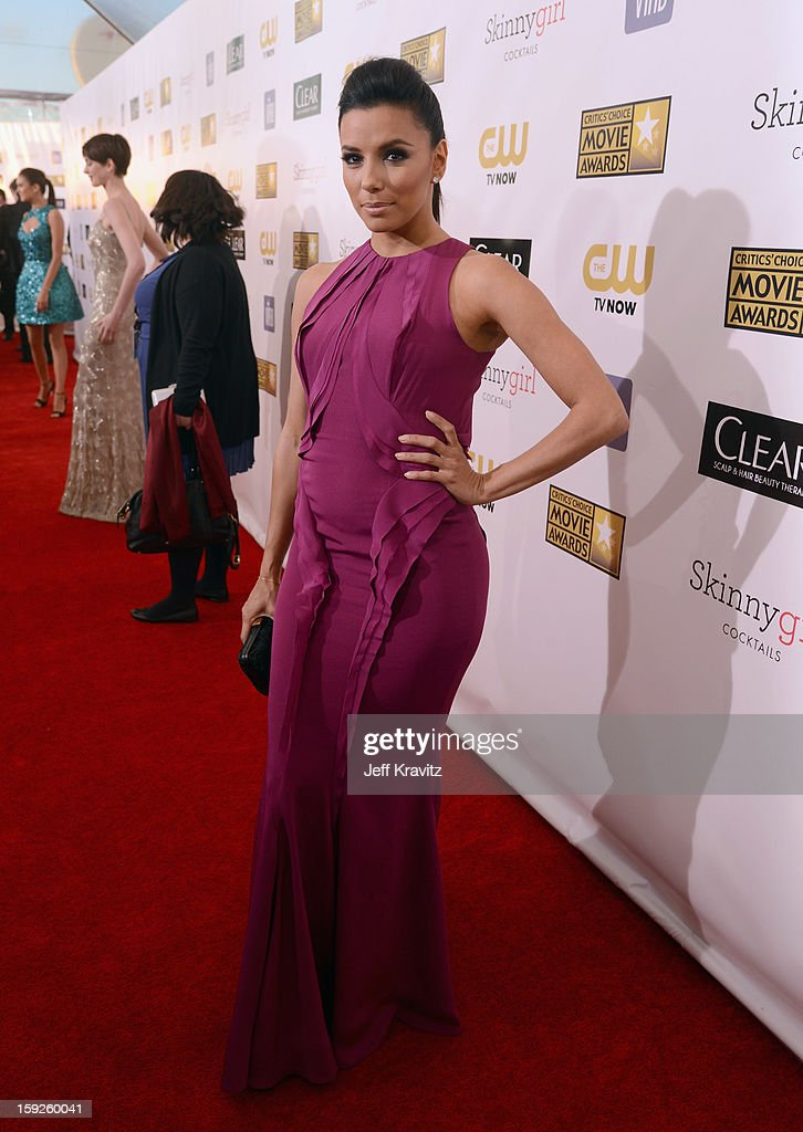 Actress <a gi-track='captionPersonalityLinkClicked' href=/galleries/search?phrase=Eva+Longoria&family=editorial&specificpeople=202082 ng-click='$event.stopPropagation()'>Eva Longoria</a> attends the 18th Annual Critics' Choice Movie Awards at Barker Hangar on January 10, 2013 in Santa Monica, California.