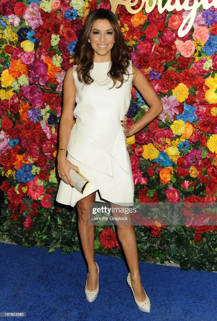 Actress <a gi-track='captionPersonalityLinkClicked' href=/galleries/search?phrase=Eva+Longoria&family=editorial&specificpeople=202082 ng-click='$event.stopPropagation()'>Eva Longoria</a> attends the Ferragamo Celebrates The Launch Of L'Icona Highlighting The 35th Anniversary Of Vara at The McKittrick Hotel, Home of Sleep No More on April 30, 2013 in New York City.