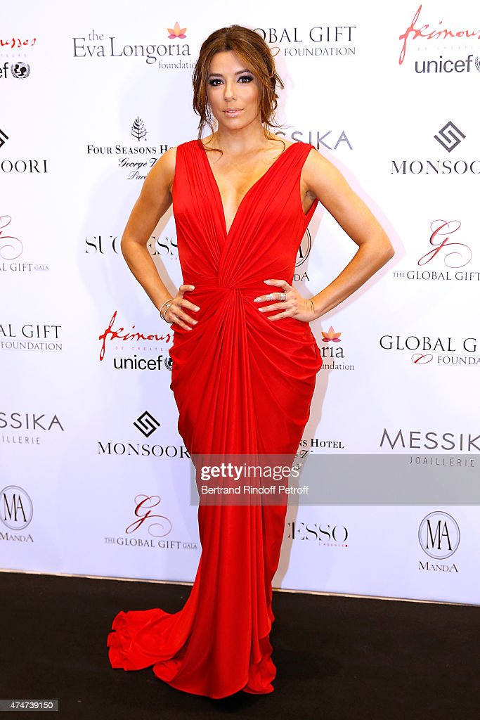 Actress Eva Longoria attends the Global Gift Gala Photocall Held at Four Seasons Hotel George V on May 25 2015 in Paris France