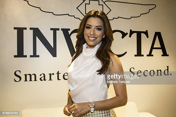 Actress Eva Longoria attends the invicta watch group cocktail hour at the Baselworld watch and jewellery Fair trade on March 19 2016 in Basel...