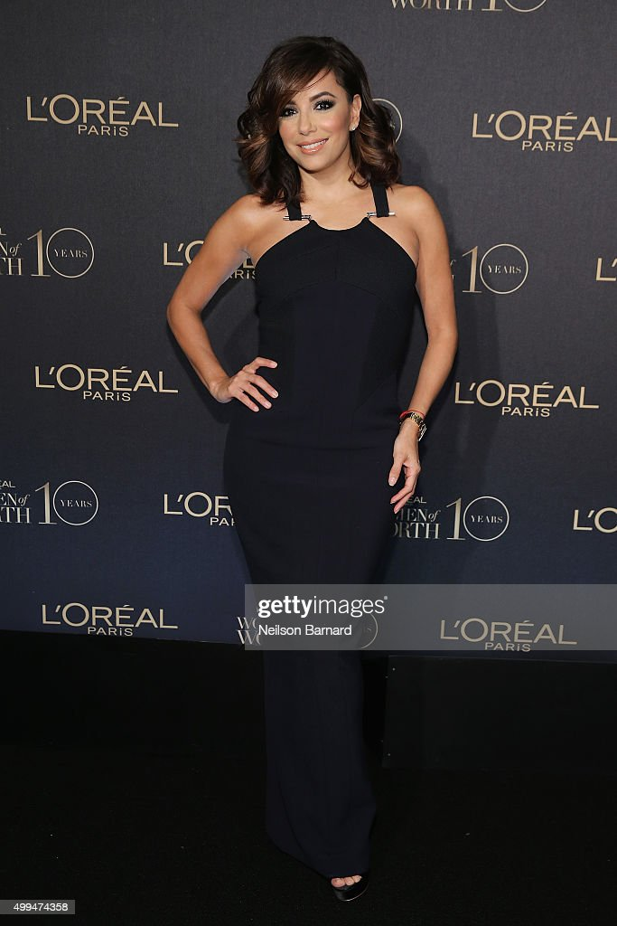 Actress <a gi-track='captionPersonalityLinkClicked' href=/galleries/search?phrase=Eva+Longoria&family=editorial&specificpeople=202082 ng-click='$event.stopPropagation()'>Eva Longoria</a> attends the L'Oreal Paris Women of Worth 2015 Celebration - Arrivals at The Pierre Hotel on December 1, 2015 in New York City.