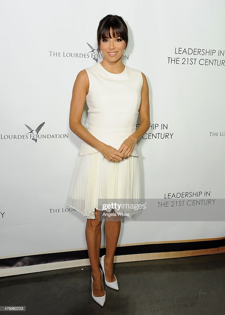 Actress Eva Longoria attends The Lourdes Foundation 'Leadership in the 21st Century' Event with His Holiness the 14th Dalai Lama at the California...