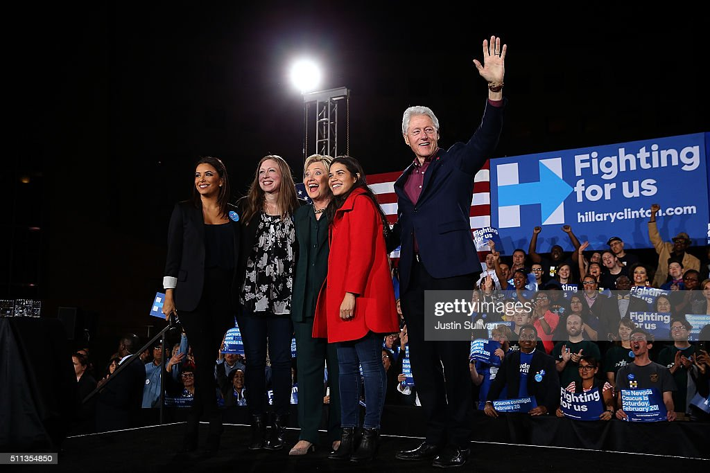 Actress Eva Longoria, Chelsea Clinton, Democratic presidential candidate former Secretary of State Hillary Clinton, actress America Ferrera and former U.S. president Bill Clinton greet the crowd during a 'Get Out The Caucus' at the Clark County Government Center on February 19, 2016 in Las Vegas, Nevada. With one day to go before the Democratic caucuses in Nevada, Hillary Clinton is campaigning in Las Vegas.