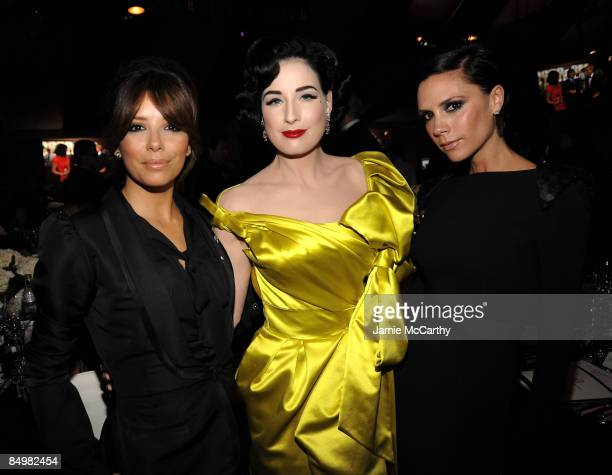 WEST HOLLYWOOD CA FEBRUARY 22 Actress Eva Longoria entertainer Dita Von Teese and Victoria Beckham attend the 17th Annual Elton John AIDS Foundation...
