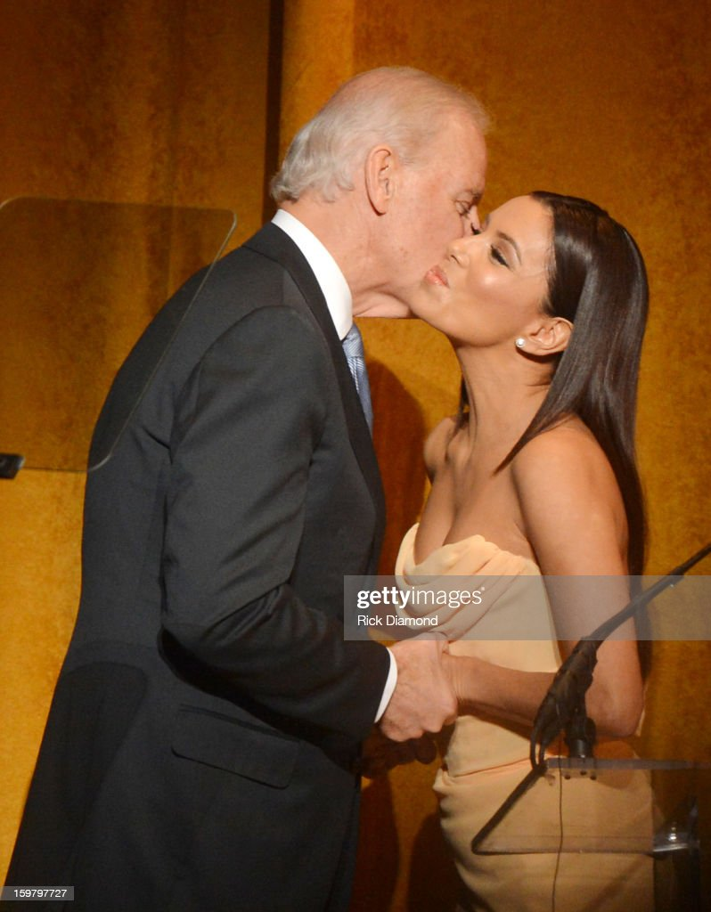 Actress <a gi-track='captionPersonalityLinkClicked' href=/galleries/search?phrase=Eva+Longoria&family=editorial&specificpeople=202082 ng-click='$event.stopPropagation()'>Eva Longoria</a> greets U.S. Vice President Joe Biden at Latino Inaugural 2013: In Performance at Kennedy Center at The Kennedy Center on January 20, 2013 in Washington, DC.