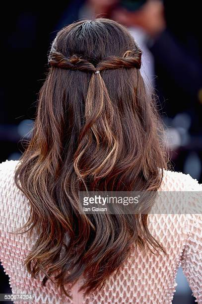 Actress Eva Longoria hair detail attends the 'Cafe Society' premiere and the Opening Night Gala during the 69th annual Cannes Film Festival at the...