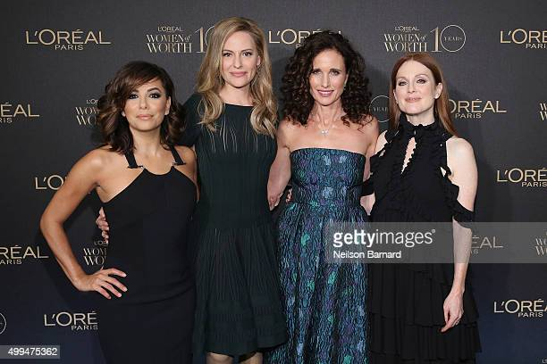 Actress Eva Longoria L'Oreal Paris Spokesperson Aimee Mullins and actresses Andie MacDowell and Julianne Moore attend the L'Oreal Paris Women of...