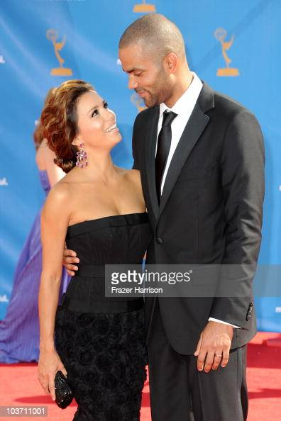 Actress Eva Longoria Parker and NBA player Tony Parker arrive at the 62nd Annual Primetime Emmy Awards held at the Nokia Theatre LA Live on August 29...