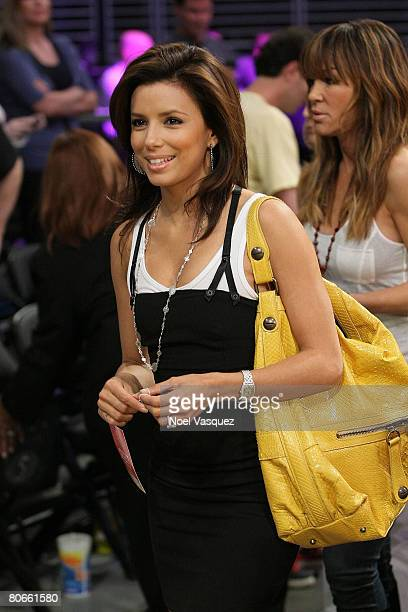 Actress Eva Longoria Parker attends the Los Angeles Lakers game against the San Antonio Spurs at the Staples Center April 13 2008 in Los Angeles...