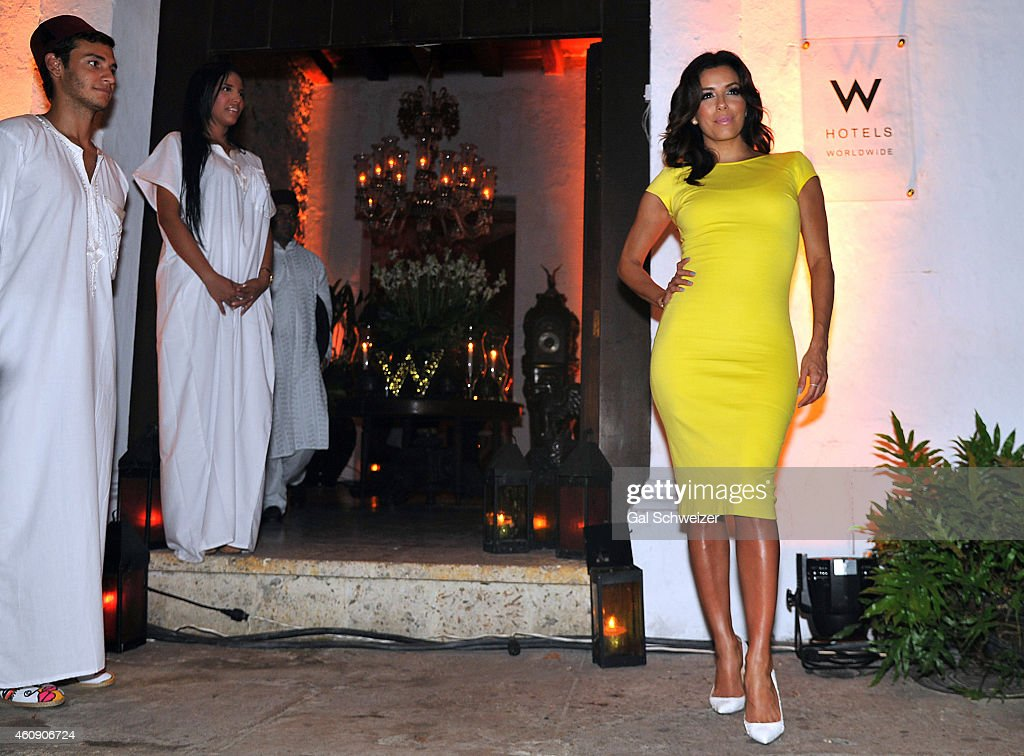 Actress Eva Longoria poses for a photo during the Pre New Year´s Affair in celebration of the Opening of W Bogotá held at Casa de las Ruinas on...