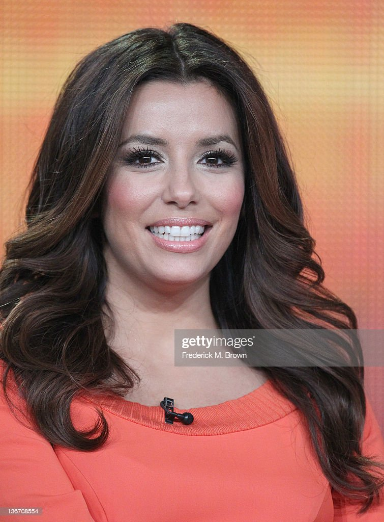 Actress <a gi-track='captionPersonalityLinkClicked' href=/galleries/search?phrase=Eva+Longoria&family=editorial&specificpeople=202082 ng-click='$event.stopPropagation()'>Eva Longoria</a> speaks during the 'Desperate Housewives' panel during the ABC portion of the 2012 Winter TCA Tour held at The Langham Huntington Hotel and Spa on January 10, 2012 in Pasadena, California.