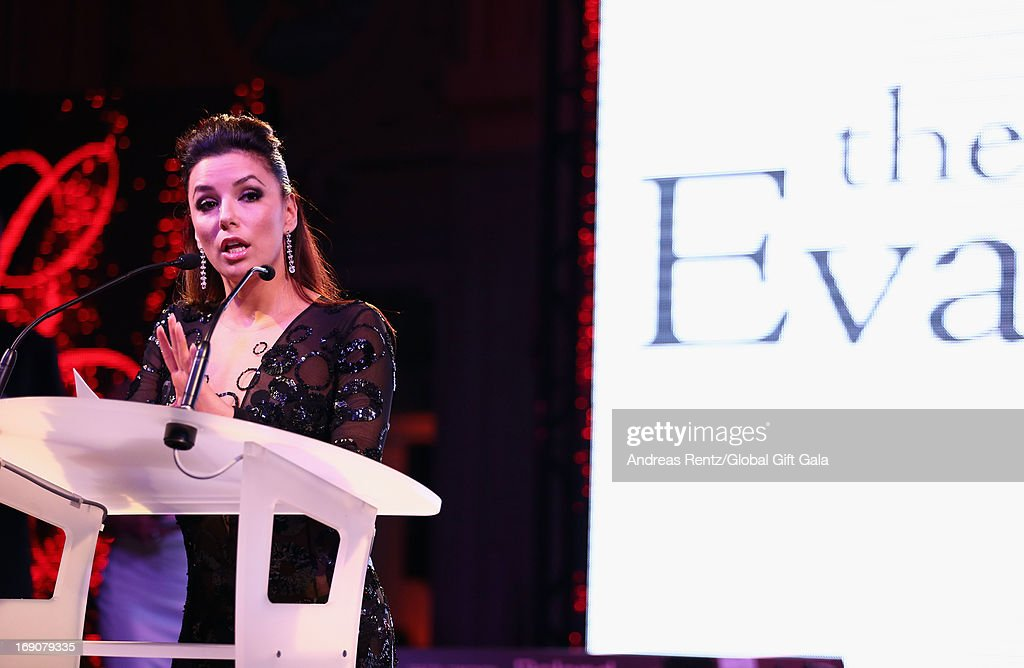 Actress Eva Longoria speaks during the 'Global Gift Gala' 2013 dinner and auction presented by Eva Longoria at Carlton Hotel on May 19, 2013 in Cannes, France.