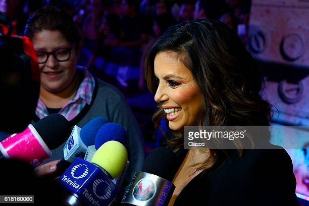 Actress Eva Longoria speaks on the red carpet of the movie 'Un cuento de Circo and a Love Song' during the Morelia International Film Festival on...