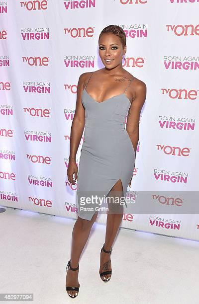 Actress Eva Marcille attends the 'Born Again Virgin' Atlanta Premiere at American Spirit Works on August 4 2015 in Atlanta Georgia