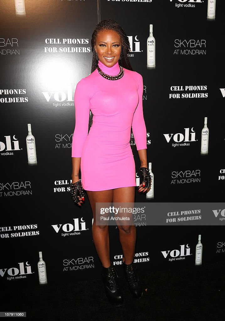 Actress Eva Marcille attends the Cell Phones For Soldiers charity event sponsored by Voli Light Vodka at Sky Bar in the Mondrian Hotel on December 6, 2012 in West Hollywood, California.