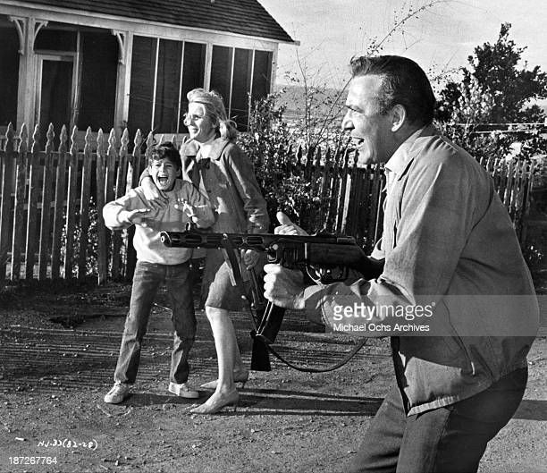 Actress Eva Marie Saint actor Sheldon Collins and actor Carl Reiner on set of the movie 'The Russians Are Coming the Russians Are Coming' in 1966