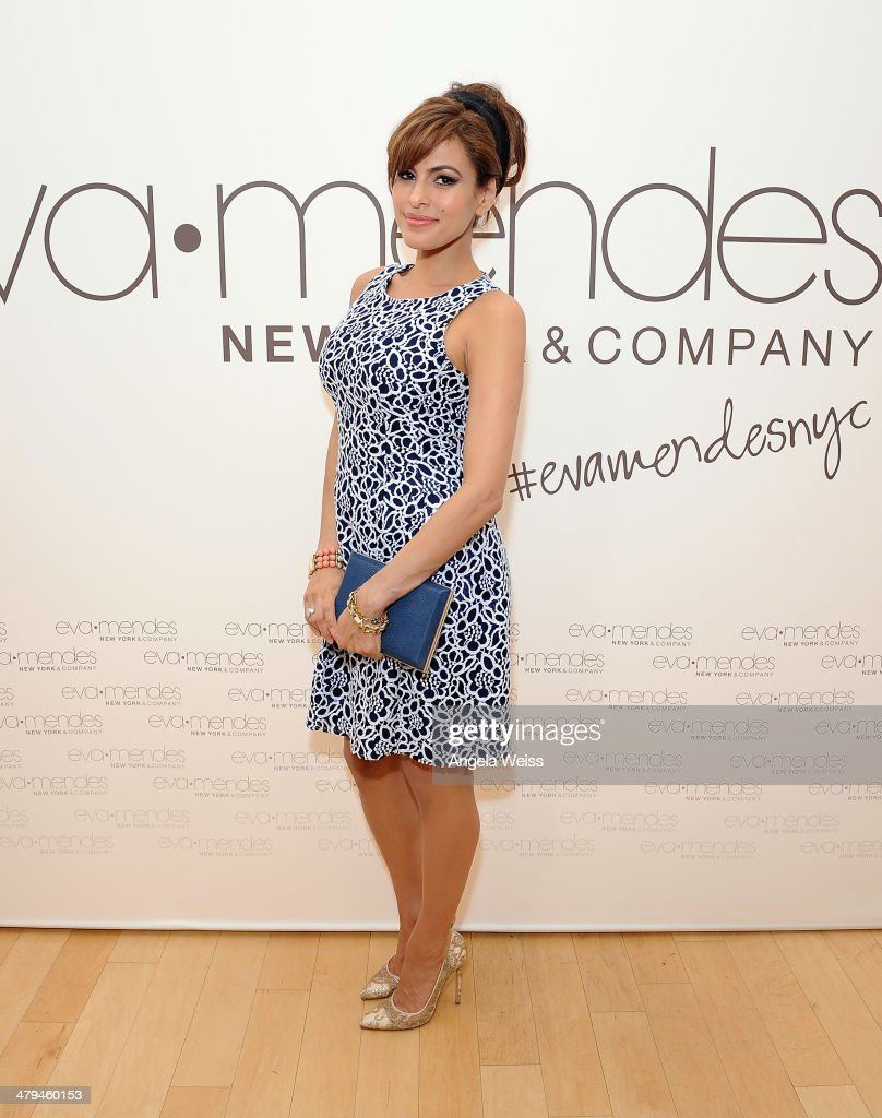 Actress <a gi-track='captionPersonalityLinkClicked' href=/galleries/search?phrase=Eva+Mendes&family=editorial&specificpeople=194937 ng-click='$event.stopPropagation()'>Eva Mendes</a> and New York & Company launch the <a gi-track='captionPersonalityLinkClicked' href=/galleries/search?phrase=Eva+Mendes&family=editorial&specificpeople=194937 ng-click='$event.stopPropagation()'>Eva Mendes</a> for NY&C Spring 2014 collection with a pop-up shop at The Beverly Center on March 18, 2014 in Los Angeles, California.
