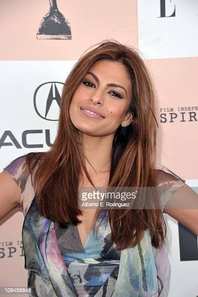 Actress Eva Mendes arrives at the 2011 Film Independent Spirit Awards at Santa Monica Beach on February 26 2011 in Santa Monica California