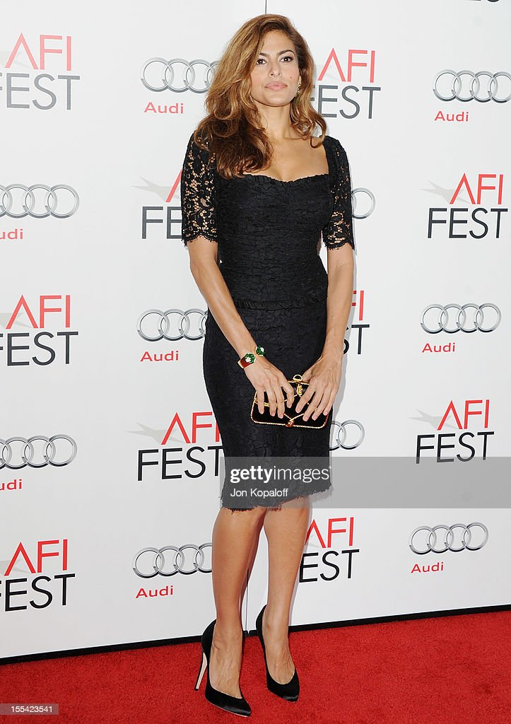 Actress <a gi-track='captionPersonalityLinkClicked' href=/galleries/search?phrase=Eva+Mendes&family=editorial&specificpeople=194937 ng-click='$event.stopPropagation()'>Eva Mendes</a> arrives at the 2012 AFI FEST - 'Holy Motors' Special Screening at Grauman's Chinese Theatre on November 3, 2012 in Hollywood, California.