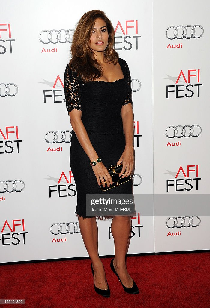 Actress <a gi-track='captionPersonalityLinkClicked' href=/galleries/search?phrase=Eva+Mendes&family=editorial&specificpeople=194937 ng-click='$event.stopPropagation()'>Eva Mendes</a> arrives at the 'Holy Motors' special screening during the 2012 AFI Fest at Grauman's Chinese Theatre on November 3, 2012 in Hollywood, California.