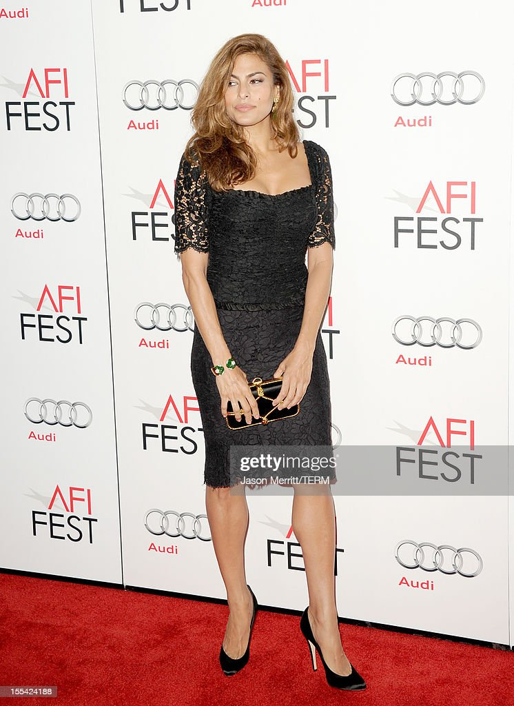 Actress Eva Mendes arrives at the 'Holy Motors' special screening during the 2012 AFI Fest at Grauman's Chinese Theatre on November 3, 2012 in Hollywood, California.