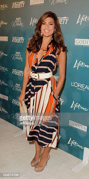 Actress Eva Mendes arrives at Variety's 2nd Annual Power Of Women Luncheon at the Beverly Hills Hotel on September 30 2010 in Beverly Hills California