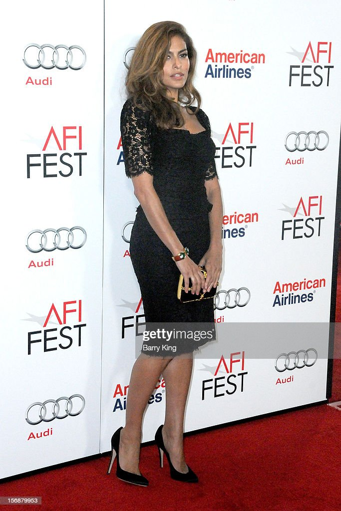 Actress <a gi-track='captionPersonalityLinkClicked' href=/galleries/search?phrase=Eva+Mendes&family=editorial&specificpeople=194937 ng-click='$event.stopPropagation()'>Eva Mendes</a> arrives to the 2012 AFI FEST 'Holy Motors' special screening held at Grauman's Chinese Theatre on November 3, 2012 in Hollyood, California.
