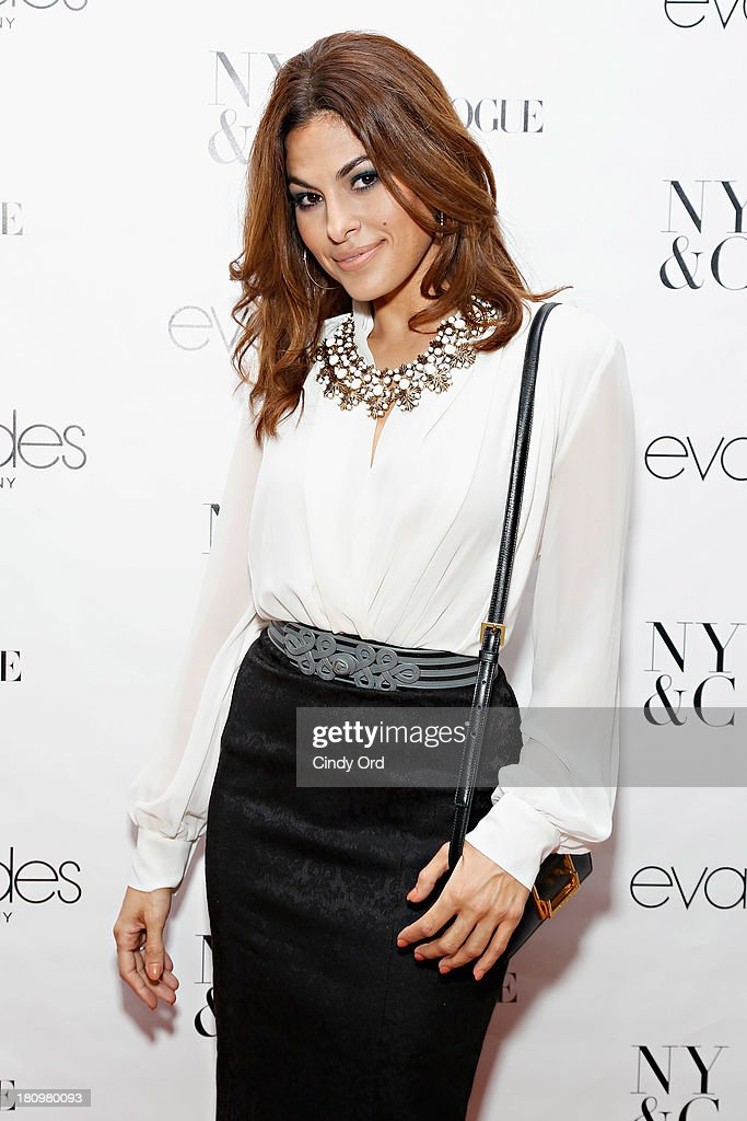 Actress <a gi-track='captionPersonalityLinkClicked' href=/galleries/search?phrase=Eva+Mendes&family=editorial&specificpeople=194937 ng-click='$event.stopPropagation()'>Eva Mendes</a> attends the <a gi-track='captionPersonalityLinkClicked' href=/galleries/search?phrase=Eva+Mendes&family=editorial&specificpeople=194937 ng-click='$event.stopPropagation()'>Eva Mendes</a> Exclusively at New York & Company Launch Event at New York & Company on September 18, 2013 in New York City.