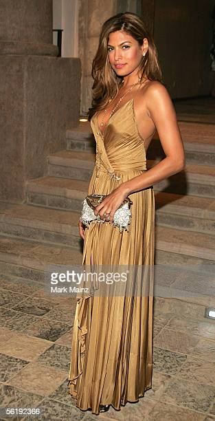 Actress Eva Mendes attends the 'Gucci Spring 2006 Fashion Show Benefitting The Childrens Action Network' at Michael Chow's residence November 17 2005...
