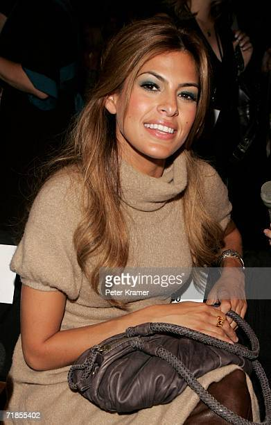 Actress Eva Mendes attends the Max Azria Collection Spring 2007 fashion show during Olympus Fashion Week in the Tent in Bryant Park September 11 2006...