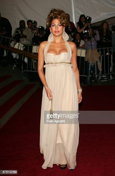 Actress Eva Mendes attends the Metropolitan Museum of Art Costume Institute Benefit Gala Anglomania at the Metropolitan Museum of Art May 1 2006 in...