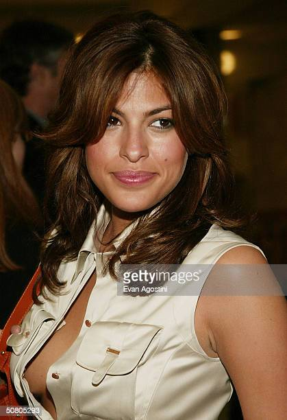 Actress Eva Mendes attends the New York Premiere of United Artists's 'Coffee and Cigarettes' during the 2004 Tribeca Film Festival on May 5 2004 in...