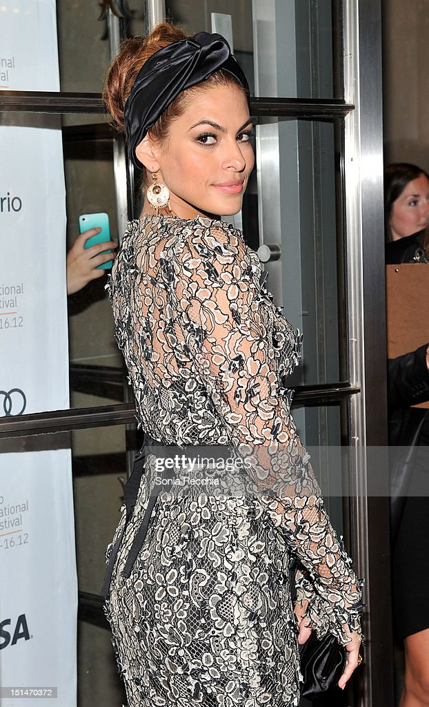 Actress <a gi-track='captionPersonalityLinkClicked' href=/galleries/search?phrase=Eva+Mendes&family=editorial&specificpeople=194937 ng-click='$event.stopPropagation()'>Eva Mendes</a> attends 'The Place Beyond The Pines' premiere during the 2012 Toronto International Film Festival at Princess of Wales Theatre on September 7, 2012 in Toronto, Canada.