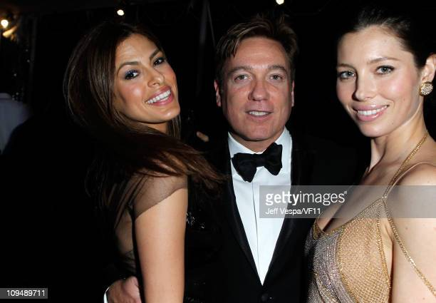 Actress Eva Mendes CAA's Kevin Huvane and actress Jessica Biel attend the 2011 Vanity Fair Oscar Party Hosted by Graydon Carter at the Sunset Tower...