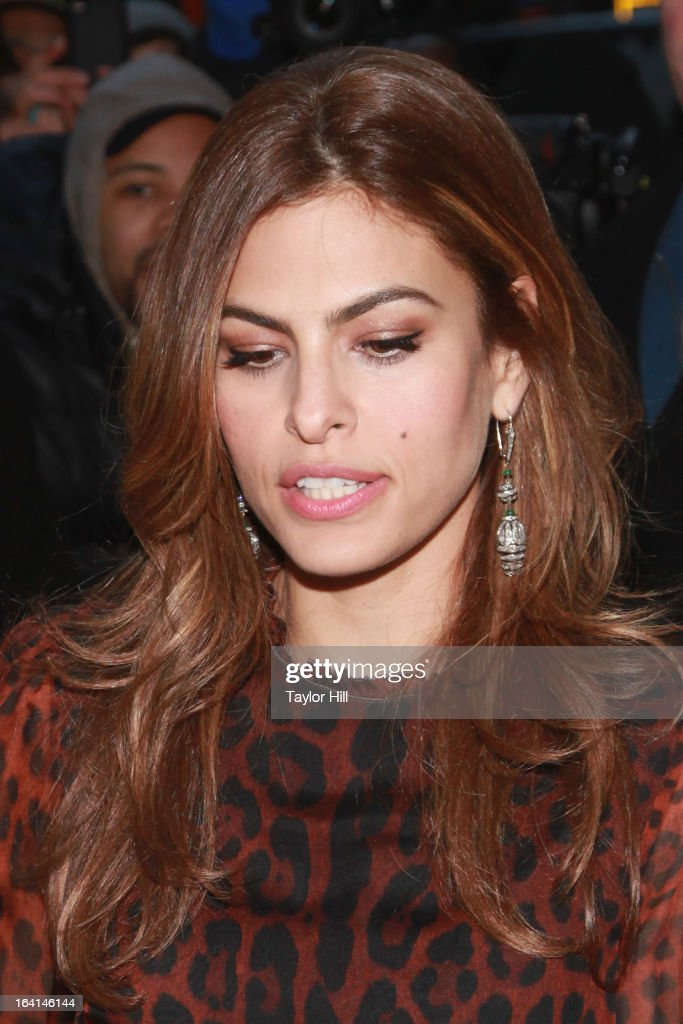 Actress <a gi-track='captionPersonalityLinkClicked' href=/galleries/search?phrase=Eva+Mendes&family=editorial&specificpeople=194937 ng-click='$event.stopPropagation()'>Eva Mendes</a> departs 'Late Show with David Letterman' at Ed Sullivan Theater on March 19, 2013 in New York City.