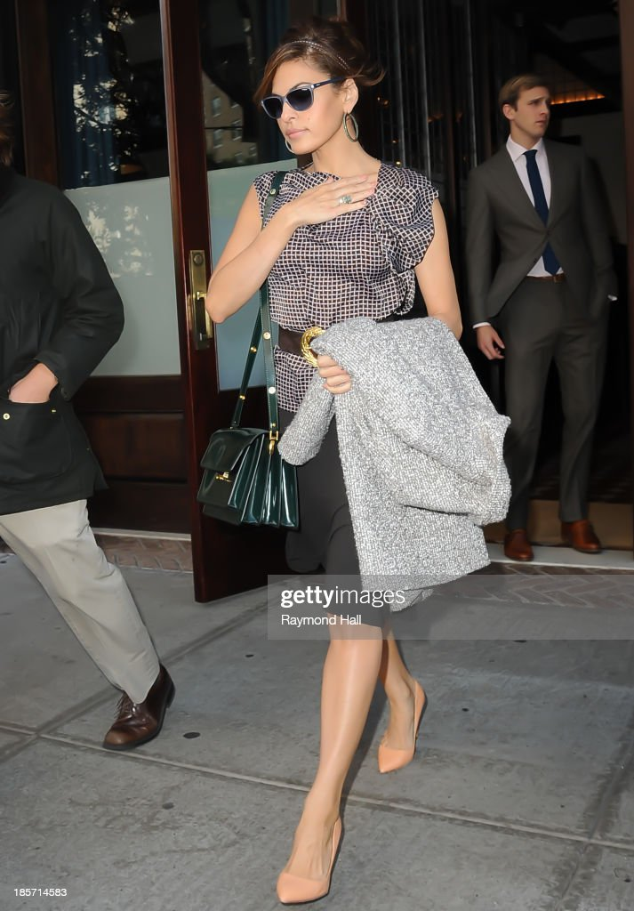 Actress <a gi-track='captionPersonalityLinkClicked' href=/galleries/search?phrase=Eva+Mendes&family=editorial&specificpeople=194937 ng-click='$event.stopPropagation()'>Eva Mendes</a> is seen in Soho on October 24, 2013 in New York City.