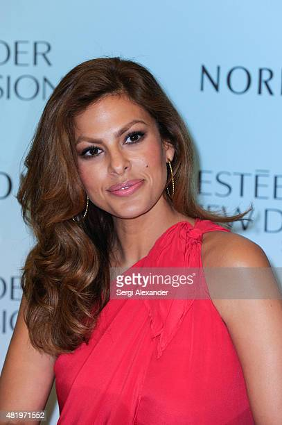 Actress Eva Mendes launches Estee Lauder New Dimension Skincare at Nordstrom Aventura Mall on July 25 2015 in Aventura Florida